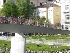 Salzburg.  Bridge of locks from afar.